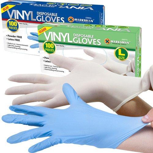 Bargains-Galore Lot de 100 gants jetables poudrés en vinyle Transparent