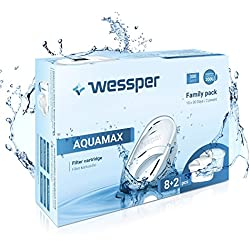 Wessper® Pack 10 Cartouche filtrante Compatible avec Brita Maxtra, Marella Carafe, AmazonBasics