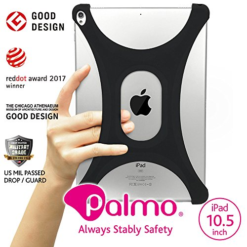 PALMO iPad Air/AIR2/Pro 9,7Schutzhülle Ver2.0(schwarz)–Red Dot Award: Product Design 2017& Good Design Award 2015Winner–US Militär Drop getestet–Einhand-Kontrolle–ultraleichtem, kratzfest, Premium Silikon Cover w/Finger Gurt für Drop Prävention, Extended Daumen erreichen–Impact, Stößen, Staub Proof Bumper–Apple Smart Cover/Keyboard (schwarz) schwarz Schwarz  10,5 Zoll (26,7 cm) (Dot Cover Red)