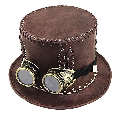 JAYLONG Steampunk Kostüm Vintage Copper Top Hut, Maske, Brille Viktorianische Gotische Accessoires Für Cosplay Halloween Masquerade (Viktorianische Gotische Halloween-kostüme)