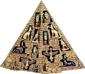 Statuette Pyramide + 12 figurines égyptiennes - 32 cm