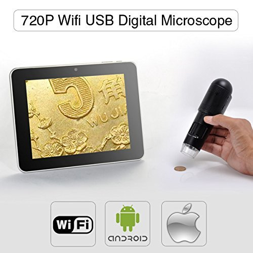 Great Buy for Express Panda 720P HD Wifi Digital Microscope for iOS/Android/PC, Measurement on PC, Adjustable Focus and Magnifications (up to 200x), Battery Powered, Professional Detector Stage Discount
