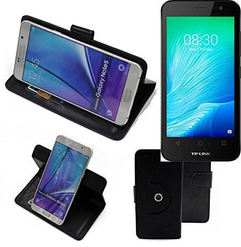K-S-Trade® Case Schutz Hülle Für -TP-LINK Neffos Y50- Handyhülle Flipcase Smartphone Cover Handy Schutz Tasche Bookstyle Walletcase Schwarz (1x)