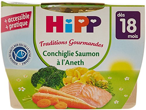 Hipp Biologique Traditions Gourmandes Conchiglie Saumon à l'aneth dès 18 mois - 8 bols de 250 g