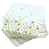 Aneco 150 Pack Servilletas Estrella de Oro Blanco con Estrellas de Oro Servilletas de Cóctel para Bodas, Fiestas, Cumpleaños, Cena, Almuerzo, Servilletas con 2 Capas, 5 por 5 Pulgadas (Gold Star)