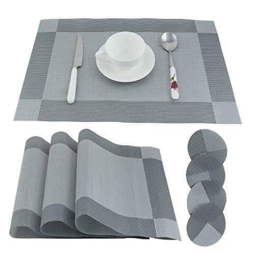 Manteles individuales, Chycet Placemats y Pasavasos para mesa de comedor, Resistente al calor y las manchas, Fácil de limpiar, Set of 4 placemats and 4 Pasavasos.