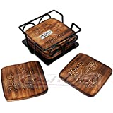 Craftland Wooden Coaster Set Of 6 With Carved Flower Design On Coaster With Wrought Iron Holder For Coffee Table/Kitchen/ Dining Table
