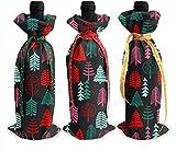Árbol Árbol Bosque Vacaciones Sello Linograbado Niños Bebé Anillo de Navidad Cubierta de la botella de vino Decoración Decoración Bolsas para Navidad,Bolsas de vino...