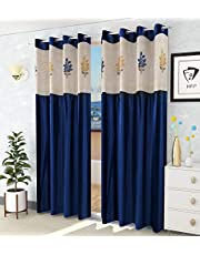 LaVichitra 2 Piece Window Curtain with Floral Net