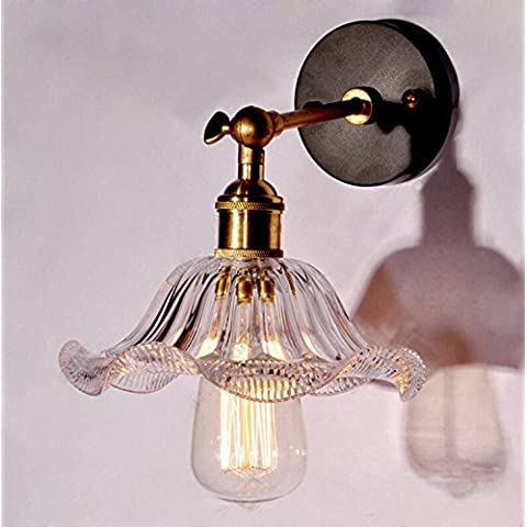 ZQ@QX Parete decorativa tradizionale semplice hotel café ristorante lampada da parete Lampada da parete petali-vetro (25 * 9.5