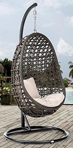 DESTINY Hängesessel Coco, Kunststoff, inkl. Sitz- und Rückenkissen 1 Stuhl, dunkelgrau