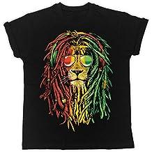 Uk print king Rasta Reggae Lion Divertida, Fresca, Regalo, Diseñada, Camiseta Unisex