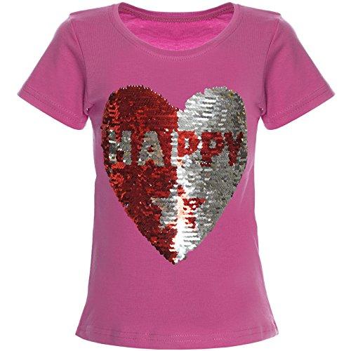 Mädchen Glitzer T-Shirt mit Einhorn Motiv  Bluse mit kurz Arm Rosa Pink,Rot