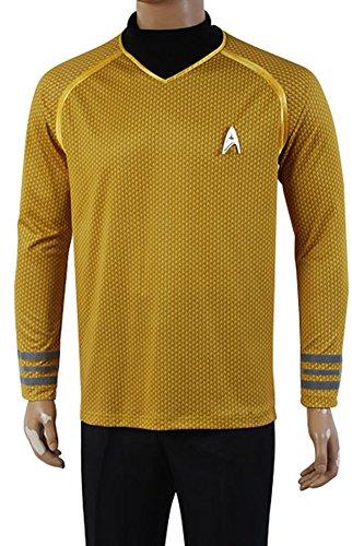 daiendi Star Trek Into Darkness Captain Kirk Hemd Uniform Kostüm gelb Version Erwachsene EU Größe Gr. Medium, gelb (Star Trek Kostüm Für Erwachsene)
