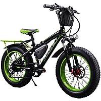Rich Bit® RT-015 Bici Elettrica Ebike Cruiser Bicicletta Cyclisimo 350 W * 36V 10.4 Ah 21 Velocità Forcella Sospensione 7 Marce Freno a Disco Meccanico 20''* 4.0 Grosso Pneumatic Snow Bike Shimano Deragliatore Moda Pittura