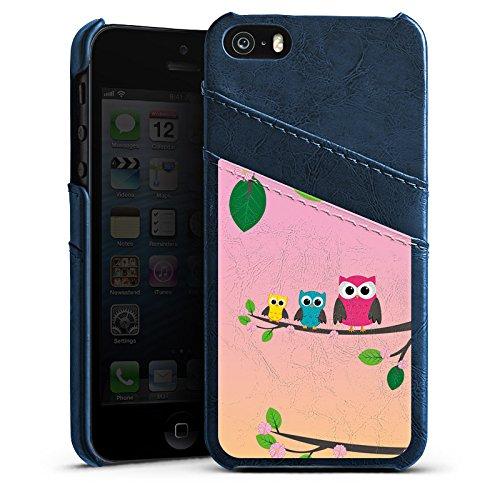 Apple iPhone 4 Housse Étui Silicone Coque Protection Hibou Hibou Hibous Étui en cuir bleu marine