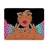 Tappetino per mouse da gioco, Tappetino mouse da gioco Design tappetino per mouse Giovane donna afroamericana con labbra in forma di baci e acconciatura afro in occhiali Tappetini per mouse durevoli in eco gomma naturale
