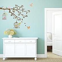 Decowall DW-1510 Pájaros en la Rama de un Árbol con Jaulas para Pájaros Vinilo Pegatinas Decorativas Adhesiva Pared Dormitorio Salón Guardería Habitación Infantiles Niños Bebés (Gris)