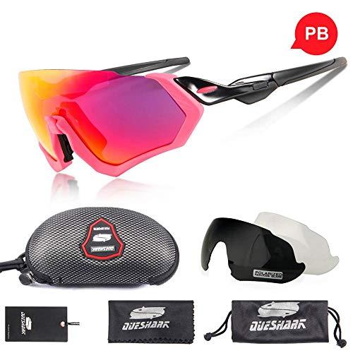 DKMMDWSSD Half Frame 3 Lens Polarized Fahrrad Sonnenbrille, Sportreitbrille UV400 Rennrad Brille MTB Bike Brille, Schwarz Pink