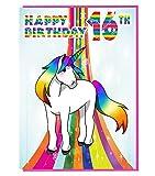 Magical Einhorn zum 16. Geburtstag Karte–Mädchen; Teenager–Tochter–Geburtstagskarte für Enkelin–Schwester–Freund