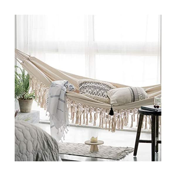 DOITOOL Hammock Boho Tassel Double Hammock Two Person Bed for Backyard Porch Outdoor Indoor DOITOOL Lightweight, easy to carry and use. Perfect for relaxing yourself during outdoor activities, such as camping, traveling, backpacking, etc. Made of high quality material, durable and safe to use. 4