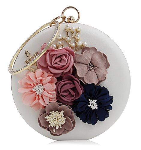 Onfashion Damen/Frauen/Mädchen heiße und gefragte neue rundliche erstklassige und edel mit Perle Handtasche für Bankett(Weiß)