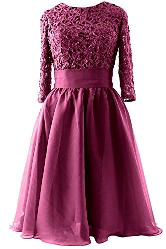 MACloth - Robe - Trapèze - Manches 3/4 - Femme Rouge - Rouge bordeaux