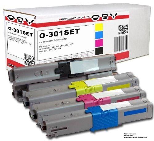 4x Kompatibler Toner für OKI C301 C301DN C321 C321DN MC332 MC332DN MC342DN MC342 MC342DNW MC561 MC361 MC362 u.a. schwarz, cyan, magenta, gelb
