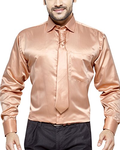 VALERIO Men's Regular Fit Classic Long Sleeve Casual Satin Shirt With FREE Satin Tie