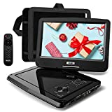 SUNPIN Tragbarer DVD-Player Auto mit 10,5 Zoll HD Schwenkbaren Bildschirm, Stereo-Lautsprecher&Dual-Kopfhörer-Buchse, Unterstützung Sync TV/USB/SD-Karte, Auto Kopfstütze Halterung, Schwarz