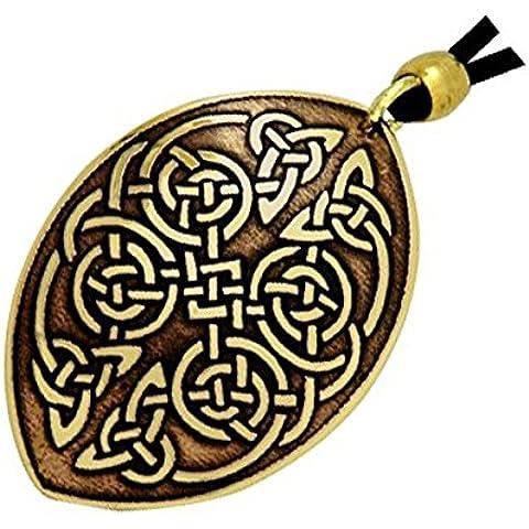 Handcrafted ottone inciso, Nodi celtici, pendente della collana Ovale Moda, Simboleggia Unità e Protezione - Una Collana Simboleggia