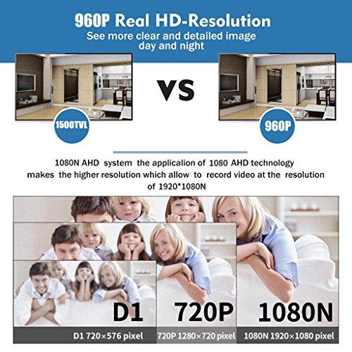 FLOUREON DVR Kit Videosorveglianza (8CH 1080N AHD HDMI DVR + 4 * 960P 2000TVL 1.3MP Telecamera Esterno), Backup USB, Allarme Email, Sistema di Sicurezza, Hard Disk Non Incluso - 6