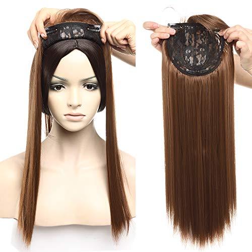Hair Topper Donna Extension Capelli Clip Lunghi 43cm Fascia Unica Fascia Unica Hair Top Piece Toupee Toupet Base Crochet 4 * 2 Parrucca 120g - Castano Chiaro