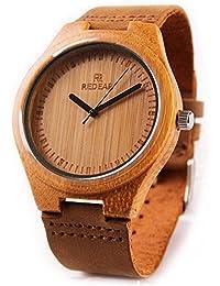 Montres-bracelets en bois de bambou pour hommes par Redear avec véritable bracelet en cuir de vachette et montre en quartz analogique japonais.