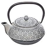Gusseisen-Teekanne mit abnehmbarem Filter - Fassungsvermögen 1 Liter - Farbe: antikes WEIß