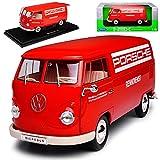 Welly Volkwagen T1 Rot Porsche Renndienst Samba Bully Bus 1950-1967 1/18 Modell Auto mit individiuellem Wunschkennzeichen