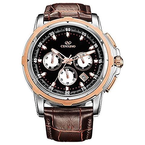 CENXINO Black Dial Multifunction Chronograph Mens Rose Gold Wrist Watches