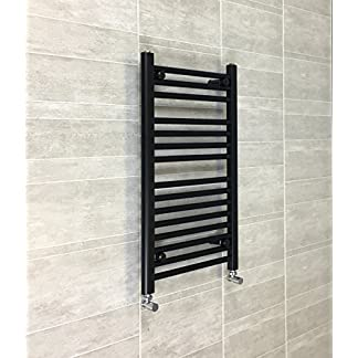 companyblue 400mm de Ancho Negro toallero radiador Plano Escalera para baño con Estilo, Acero, 400 x 600mm