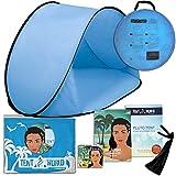 Tente de plage Pluto azur: Un accessoire extraordinaire pour le confort de vos enfants! Une tente de luxe et légère. Un abri de la chaleur du soleil, du vent et de la pluie. Sac de transport inclus