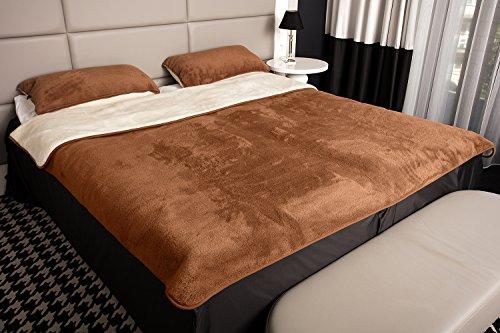 Kombi-Set Bettdecke mit 2 Kissen reine Merino-Schafschurwolle Naturprodukt Braun-Creme 155x200
