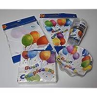 EXTRA Kit Party Tavola Deco Buon Compleanno e Palloncini 1 Tovaglia in PVC+10 piattini diam.18,5 cm +20 Tovaglioli +10 Bicchieri + 1 Festone bandierine