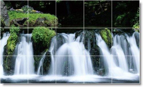 DUCHA MURAL DE AZULEJOS DE FOTOS DE CASCADAS W045  18X 30CM CON (15) 6X 6AZULEJOS DE CERAMICA