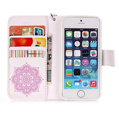 Wkae Case Cover Gemaltes Farbenmuster-Mappenartkasten magnetisches entwerfen Flipfolio PU-Lederabdeckung Standup-Abdeckungsfall für iPhone 5S SE ( Color : Purple , Size : IPhone 5S SE ) White