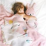GWELL Babydecke Einhorn Handgefertigte Gestrickte Decke Schlafdecke Krabbeldecke für Kleinkinder Baby 90×90cm Rosa