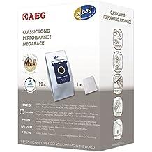 AEG GR 201 M original s-bag classic long performance MegaPack, 12 Synthetik Staubsaugerbeutel, Passend u.a. für AEG UltraSilencer, ClassicSilence, SilentPerformer, Equipt, PowerForce, VX6, VX7, VX8