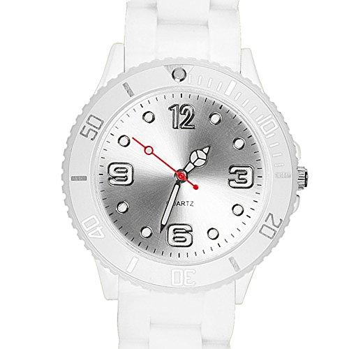 Taffstyle Farbige Sportuhr Armbanduhr Silikon Sport Watch Damen Herren Kinder Analog Quarz Uhr 43mm Weiß