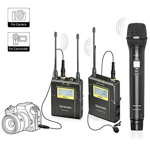 Kabelloses Mikrofon für Kamera, Saramonic UHF Kabelloses Mikrofonsystem mit Taschensender, Handsender und empfänger für Nikon, Canon, Sony, DSLR und DV Camcorder für Vlogging Youtube Facebook Video -