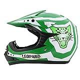 Leopard LEO-X17 *ECE 2205 Genehmigt* Kinderquad Kinder MX Motorradhelm Crosshelm Motocrosshelme Off Road Enduro Sport - Grün L (53-54cm)