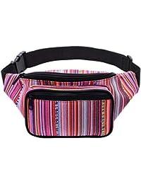 Kayhoma Boho Fanny Pack Stripe Festival Rave Bum Bags Travel Hiking Hip  Waist Belt Purse a427facf3097e