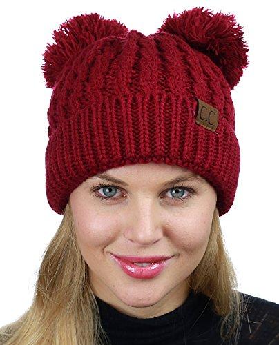 Rote Beanie Mit Pom (C.C Zopfmuster-Strickmütze mit 2 Pom-Pom-Ohren, elastischer Bund, Skully Beanie, Burgund)